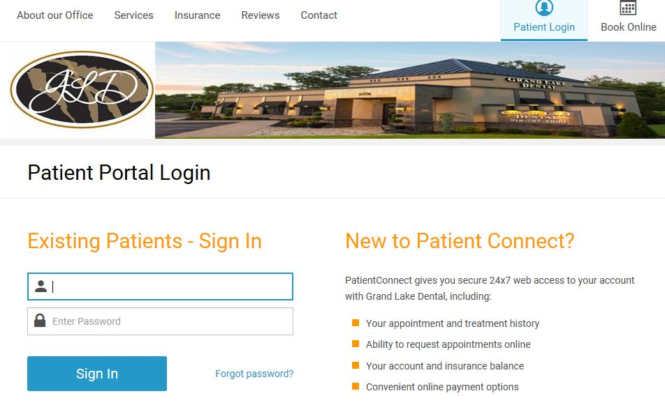 Grand Lake Dental Patient Portal Screenshot