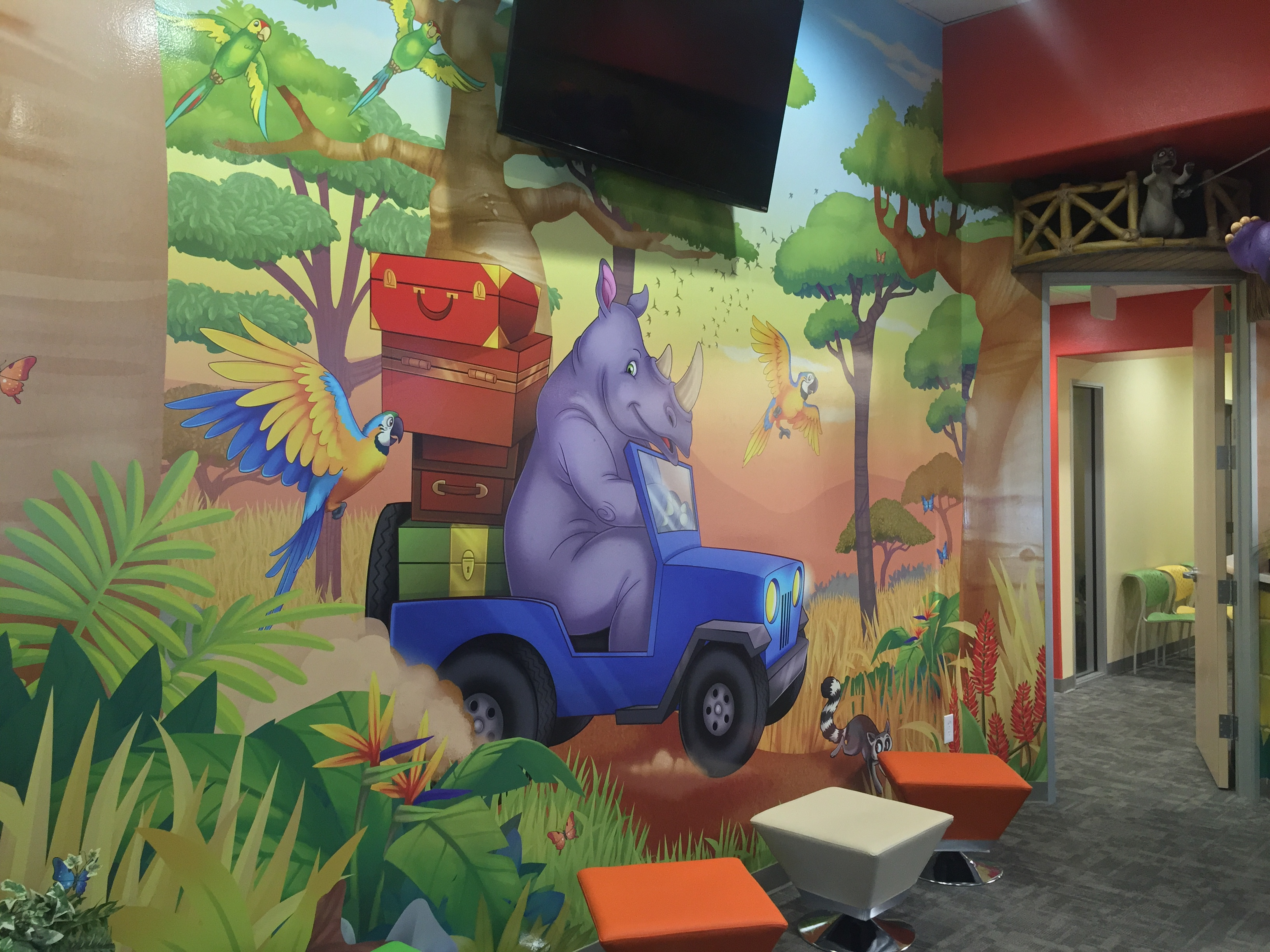 Cartoon Rhino wall art