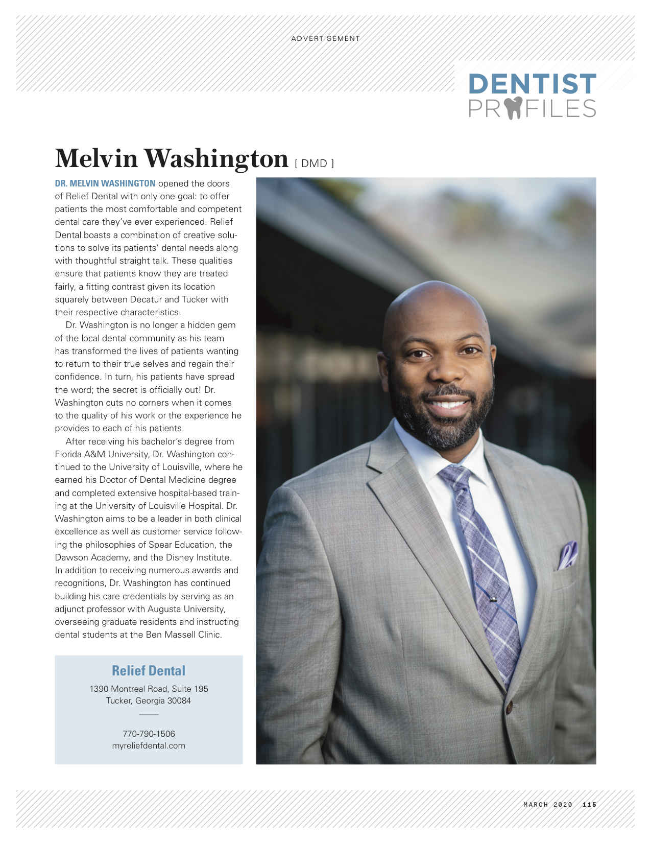 atlanta magazine article dr. melvin washinton tucker ga cosmetic dentist