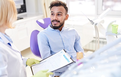 Image of male patient in dental office