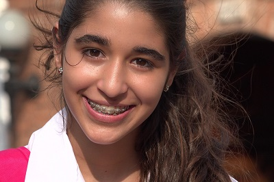 Pretty Teen Girl Smiling With Braces