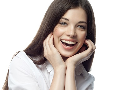 closeup portrait of attractive caucasian smiling woman
