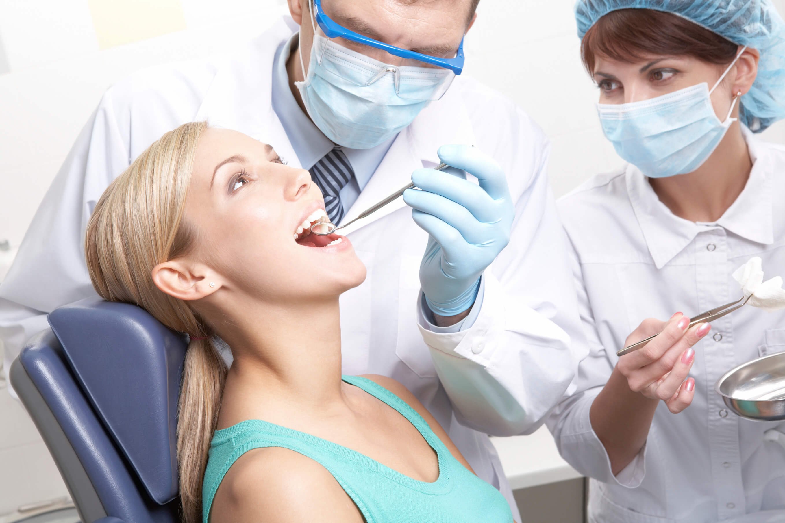 patient receiving cosmetic dental treatments