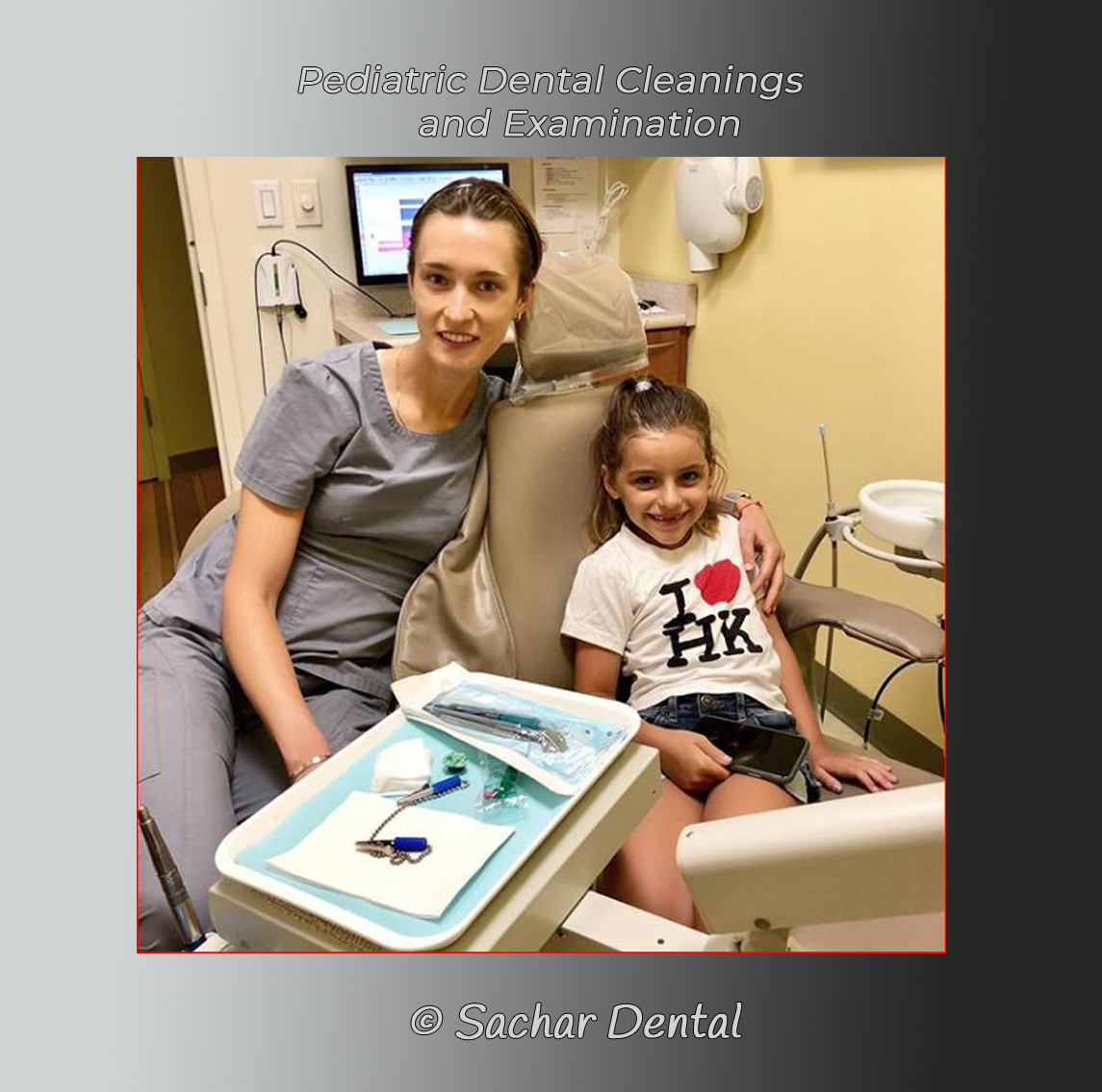 Picture of dental hygienist Anna with little girl, pediatric patient for dental cleaning