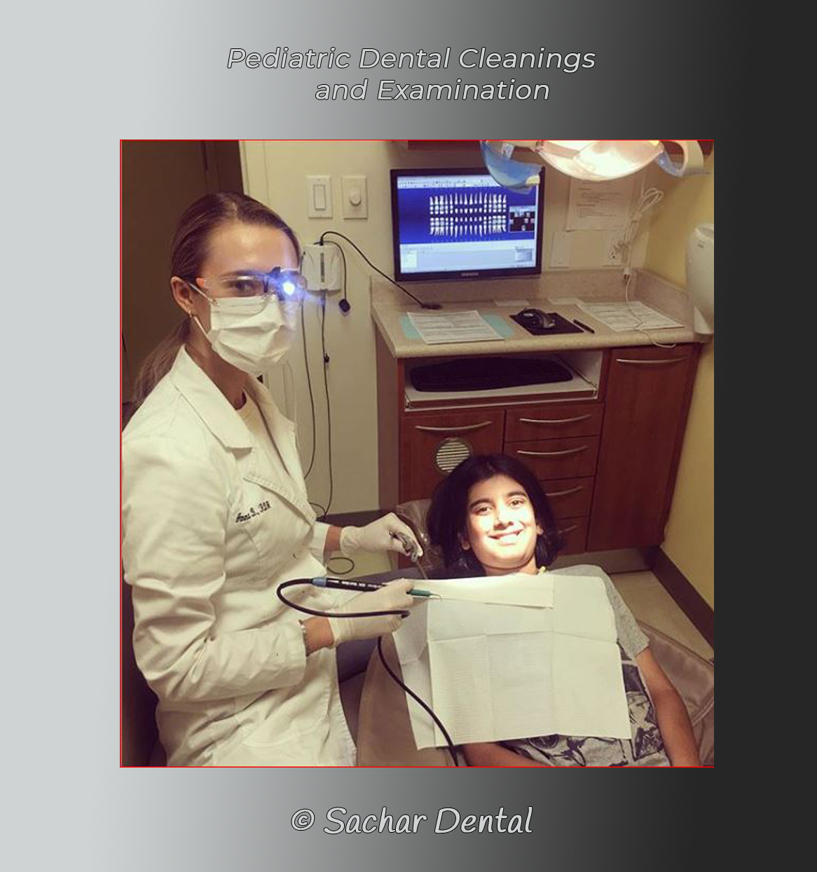 Picture of dental hygienist Anna with boy, pediatric patient for dental cleaning and examination