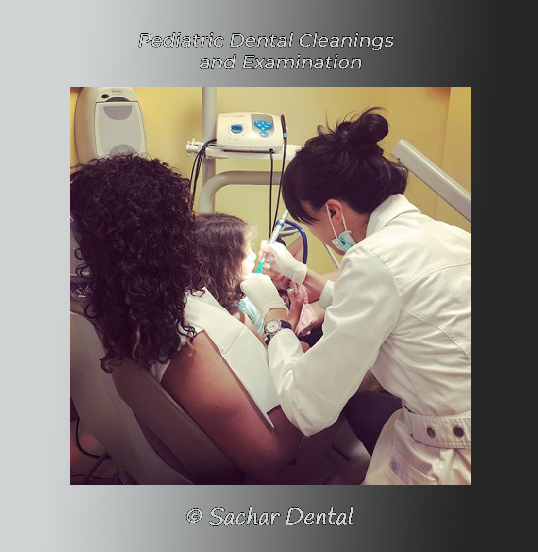 Picture of Dr. Wong doing a dental examination for little girl, pediatric patient while she sits on her mom's lap