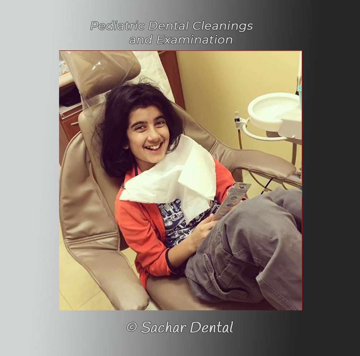 Picture of pediatric patient smiling in the dental chair