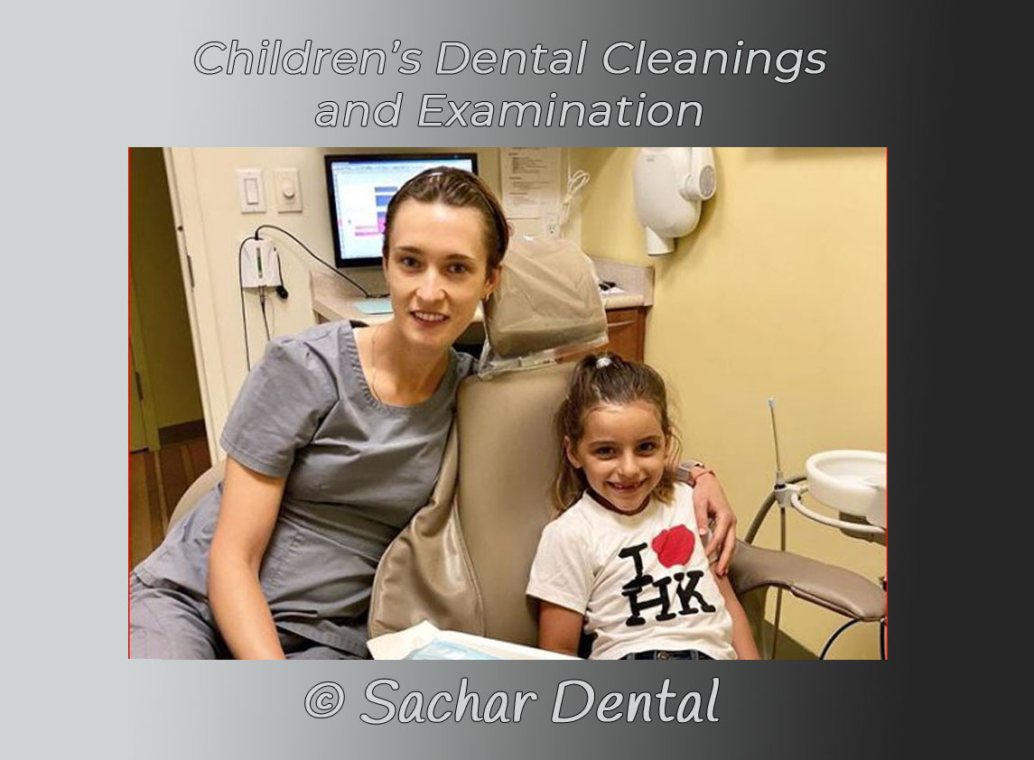 Picture of dental hygienist with a child patients, pediatric dental cleaning