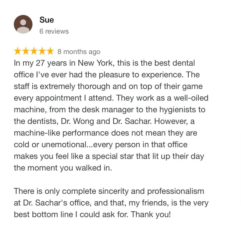 picture of 5 stars review of  Sachar Dental NYC