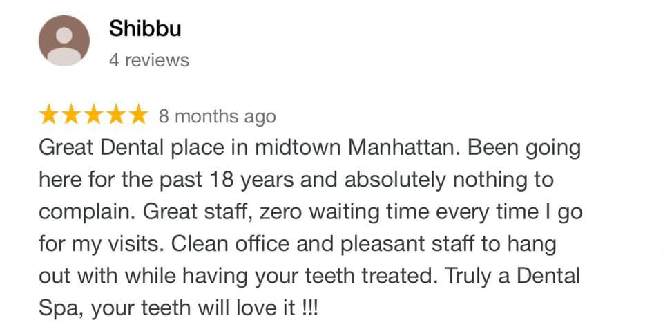 picture of 5 star review of Sachar Dental NYC