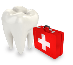 Tooth with emergency dentists symbol