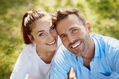couple with perfect smile outdoors