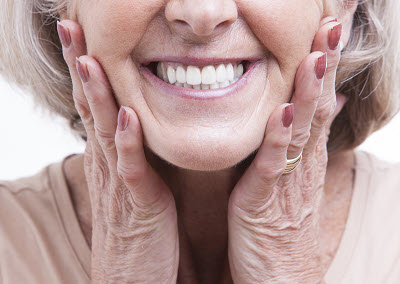 close up of senior woman's smile