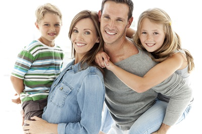happy family with two kids over white background