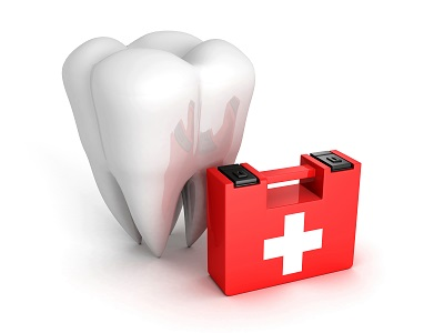 molar tooth and first aid kid