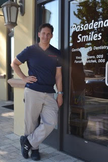Dr. Vincent Spero in front of the Pasadena Smiles office in Southern California