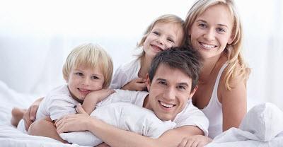 A young family with young children