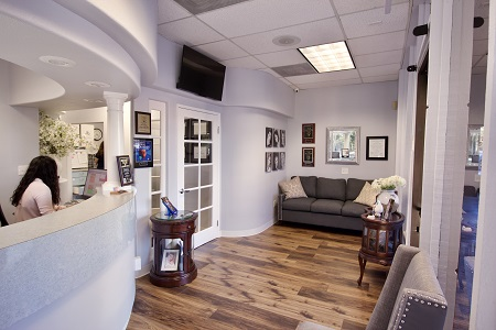 Laguna Hills Dental reception desk and patient waiting area