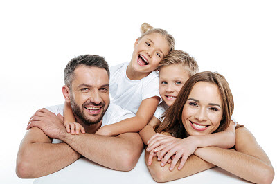 smiling family over white background