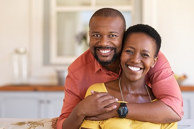 african american couple relaxing at home
