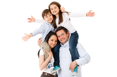 happy family with kids on top isolated over white background
